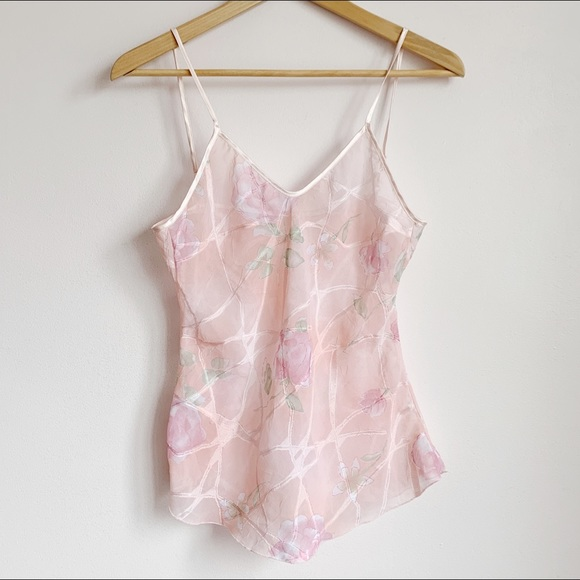 Tops - pink pastel semi sheer cami with flowers